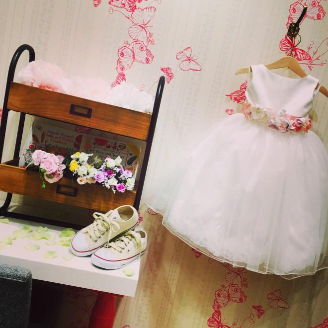 フラワーガール 女の子ドレス ホワイト